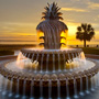 Pineapple Fountain at Waterfront Park Charleston, SC at Sunrise