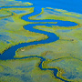 Abstract aerial photography of high tide marsh